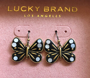 Lucky Brand Burnished Gold Tone Butterfly Drop Earrings With Mother of Pearl NIB