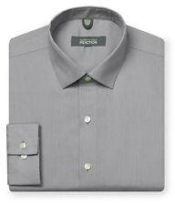 "Mens Shirt Kenneth Cole 18"" Slim Fit Grey Tonal Stripe Pure Cotton Long Sleeve"