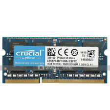 Crucial 4GB PC3L-12800 DDR3 1600MHz 204Pin Unbuffered SODIMM Laptop Memory RAM