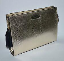 VICTORIA'S SECRET GOLD PYTHON SNAKE CLUTCH CROSSBODY PURSE BEAUTY BAG CASE CHAIN