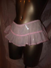 VINTAGE STYLE NEW PINK SHEER SKIRTED CROTCHLESS INTEGRAL PANTIE SIZE SMALL UK