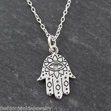 Hamsa with Eye Necklace - 925 Sterling Silver - Protection Jewish Symbol NEW