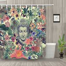 Hand Drawn Vintage Watercolor Pattern with Buddha Head Shower Curtain Bathroom