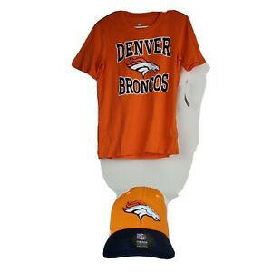 Denver Broncos Tee Shirt and Hat Set Boys Youth Size Large 14 /16 Orange