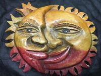 Folk Art Plaque Ornament Sculpture Hand Carved & Hand Painted Wooden Sun & Moon