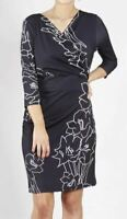 TEABERRY Dress Size 8 10 12 14 16 Black Floral Faux Wrap 3/4 Sleeve