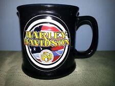 New listing Harley Davidson Raised design coffee cup mug Usa with American Flag Black & Blue
