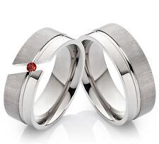 Eheringe Verlobungsringe Trauringe aus Titan mit echtem Granat Ring Gravur TG101