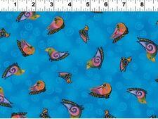 Fat Quarter Embracing Horses Birds Blue Cotton Quilting Fabric - Laurel Burch