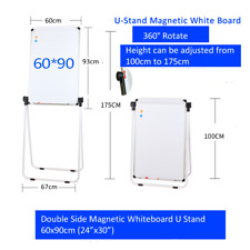 U-Stand Magnetic White Board Easel 360° Rotate, double white board,white stand