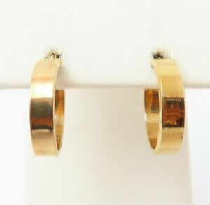 "14K Yellow Gold ~3.8MM Plain Huggie Hoop Earrings 3/4"""