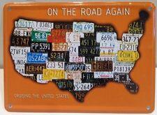 USA Map Embossed Vintage Metal Sign