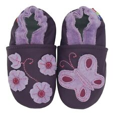 carozoo purple butterfly flower 12-18m soft leather baby girl shoes
