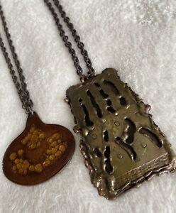 2 X Retro Vintage Mid Century Brutalist Modernist Copper Brass Enamel Necklaces