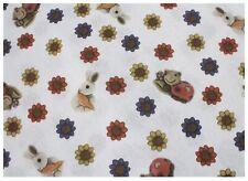 Stampato in poliestere Tessuto Di Cotone-Floreale Margherite e coccinelle
