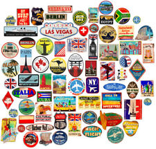 85x Luggage stickers suitcase patches vintage travel labels retro vinyl decals