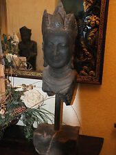 "27 Lb Gallery Mounted 33"" Buddha Bust Head Sculpture Replica Reproduction"
