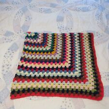 42 x 44 Afghan multi color square crocheted throw blanket