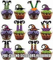 PRE-CUT Witch Legs & Hats - Edible Cupcake Toppers Decorations Halloween Party