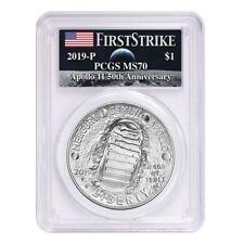 2019 P Apollo 11 50th Anniversary Silver Dollar Comm. Pcgs Ms 70 Fs (Moon Label)