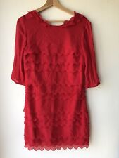 Ted Baker Size 3 Silk Ruffle Red Dress Equivalent To 10/12