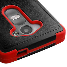 FOR LG LEON LTE C40 / H320 BLACK RED NATURAL TUFF IMPACT CASE PHONE COVER