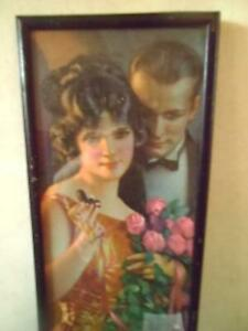 GENE PRESSLER AUTHENTIC C1920'S BEAUTY GAINED IS LOVE RETAINED DECO PRINT FRAMED