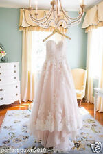 Beautiful Pink Lace Wedding Dresses Strapless Bridal Gowns Custom Size 4-20 Plus