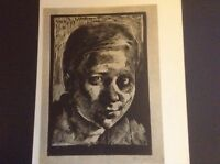 1930s woodcut print Head of a Girl by Nandor Varga