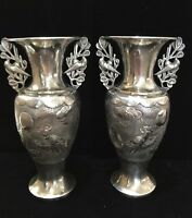 Antique Chinese 935 Silver Pair of Amphora Style Vases