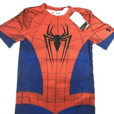 Under Armour Spiderman Fitted Heat Gear Short Sleeve Shirt Youth XL