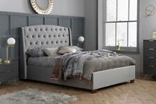 Balmoral Bed Frame 5FT King Size In Velvet Grey Stunning Winged Headboard