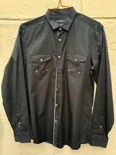 GUCCI BLACK MILITARY STYLE L/S COTTON FITTED SHIRT W GREEN RED WEB TRIM SZ 41/16