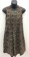 MATA TRADERS Dress XS Black/Tan Batik Floral Print Shift Sleeveless Pleated