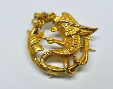 "BROCHE /PORTE MONTRE  ""DRAGON"" OR 18K PERLE ÉPOQUE  FIN XIXe / XX"