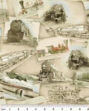 Fat Quarter Locomotion Trains Ride The Rails Sand Quilting Fabric  Benartex