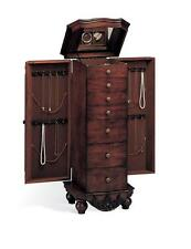 Antique Cherry Finish Jewelry Armoire Lingerie Chest by Coaster 900065
