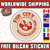 Fun city morecambe pleasure park sticker, retro 85x85mm seaside lancashire