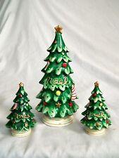 Vintage Ceramic Christmas Tree Set: Salt/Pepper Toothpick  Lefton