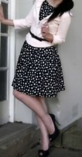 CUE Black Polka Dot Spot Fit and Flare Dress Size 12