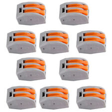 10X  REUSABLE SPRING LEVER TERMINAL BLOCK ELECTRIC CABLE WIRE CONNECTOR 2 WAY