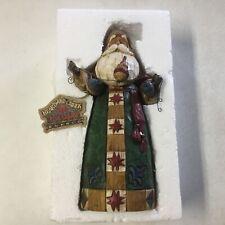 "Jim Shore Heartwood Creek Santa's Wooden Christmas 10"" Figurine 2004 w/autograph"