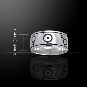 Symbols of the Universe .925 Sterling Silver Spinner Ring by Peter Stone