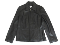 Apt. 9 Leather Jacket Coat Black Lambskin Full Zip Women's Small
