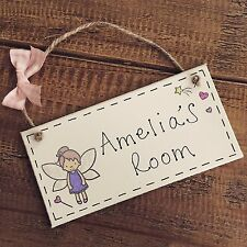 Girls Personalised Fairy Princess Name Plaque Door Nursery Bedroom Sign Room