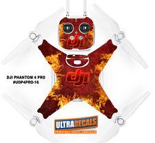 DJI Phantom 4 Pro Skin Wrap Decal Sticker Battery Body Controller Red Fire Ul...