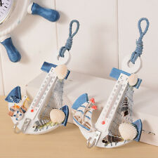 Anchor Wall Hook Home Wood Door Hanger Nautical Conch Thermometer Decoration