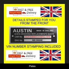 AUSTIN CARS A30 A35 A40  MINI ID ALL-BLANK-VIN-CHASSIS-PLATES STAMPED FOR YOU