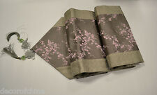 """Gray Chinese Silk Brocade Table Runner Pink Cherry Blossom Gift Home Decor 90""""L"""