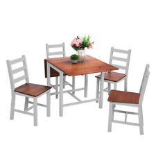 Dropleaf Dining Table w/ 4 Chairs Solid Pine Wood Dining Set Kitchen Furniture
